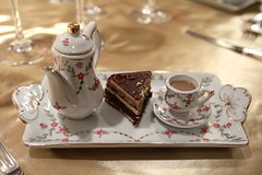 Opera Cake & Masala Chai (Rene S. Suen) Tags: toronto cake dessert gold opera tea sweet chocolate treats cream treat chai fairmontroyalyork masalachai chainedesrotisseurs thefairmontempress november2010 davidgarcelon grandchapitredinner scottariess