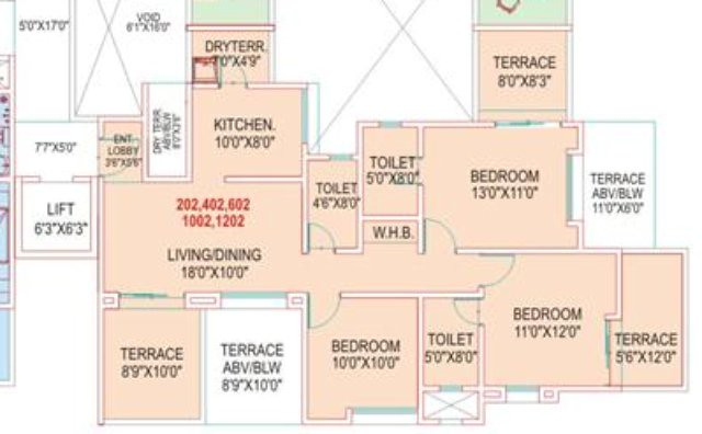 Wisteriaa Wakad Pune Flat No 2 - 3 BHK Flat - 886 carpet + 3 Terraces
