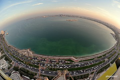Doha Bay Sunset Fisheye (Fispace) Tags: bay nikon fireworks circles crowd before fisheye corniche fuego doha qatar nationalday feudartifice westbay groupef 18december wwwgroupefcom