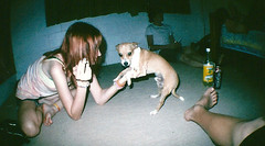 (chloetodd) Tags: party dog fish cute eye film girl drunk 35mm hair puppy skinny lomo smoke ground smoking fisheye singlet