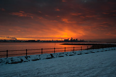 The shortest day (petecarr) Tags: morning sky orange skyline liverpool sunrise cityscape waterfront newbrighton shortestday