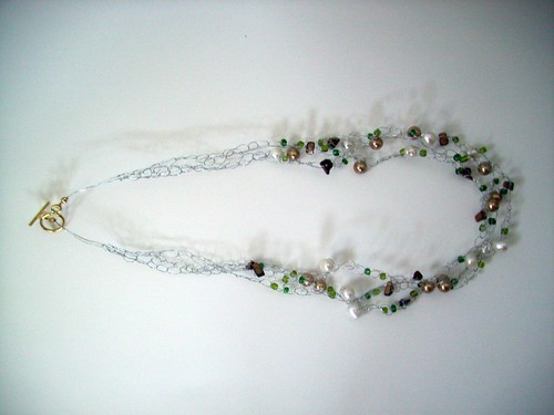 Crochet Necklace w/Silver Wire & Gold Clasp