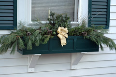 Christmas Window Box (kizilod2) Tags: christmas door green yellow gold grey gray evergreen decorating bow lichen pinecone windowbox russiansage