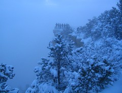 Canyon?  What Canyon? (zoniedude1) Tags: morning arizona snow cold southwest nature fog clouds outdoors dawn early rocks snowy grandcanyon canyon edge geology icy rim viewpoint precipice southrim abyss watchyourstep grandcanyonnationalpark longwaydown coloradoplateau gcnp zoniedude1 damnbighole earthnaturelife