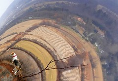 Bella's Vision Quest - 4 (phobexyz) Tags: trip cliff dog ontario nature burlington out other collie lab mt nemo hiking walk bruce hill border orb warp warped hike next hills mount trail photograph sphere fields bella trippy dimension stroll circular spheroid ont tripping on tripped campbellville
