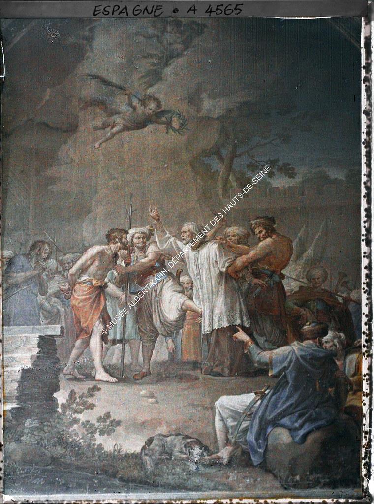 Frescos de Bayeu y Maella en el Claustro de la Catedral de Toledo entre el 15 y el 17 de junio de 1914. Autocromo de Auguste Léon. © Musée Albert-Kahn - Département des Hauts-de-Seine
