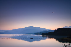 Sunrise with Moon (samyaoo) Tags: morning lake mountains reflection sunrise taiwan     sunmoonlake nantou