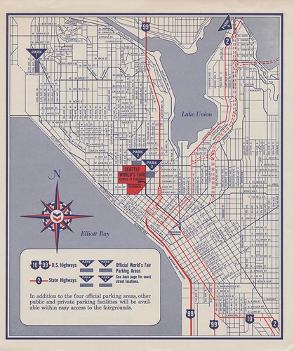 Parking Map of Seattle for the 1962 World's Fair