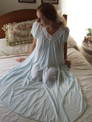 Miss Elaine Pale Blue Short Sleeved Nightgown 3 (mondas66) Tags: ruffles lace lingerie boudoir gown gowns lacy nylon nightgown sheer frilly nightgowns nightdress ruffle nightwear frill ruffled nightie lacework frilled nighties misselaine antron nightdresses frilling frillings befrilled