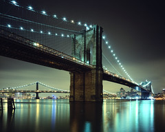 Brooklyn Bridge, New York City (andrew c mace) Tags: nyc longexposure newyork film brooklyn night construction manhattan wideangle southstreetseaport brooklynbridge manhattanbridge eastriver 4x5 monorail largeformat williamsburgbridge provia100f cambo epsonv700 colorefex nikoncapturenx nikkor75mmf45 45sf