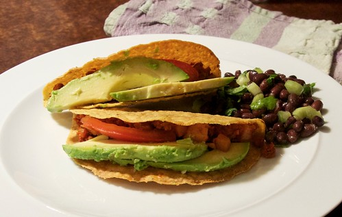 chorizo & potato tacos w/black bean salsa