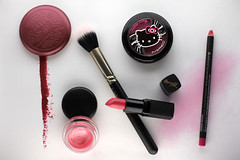 Pink makeup colour palette, Hello Kitty! (anothercaroline) Tags: pink beauty mac hellokitty makeup lipstick blush cosmetics stila lipbalm barrym tendertone