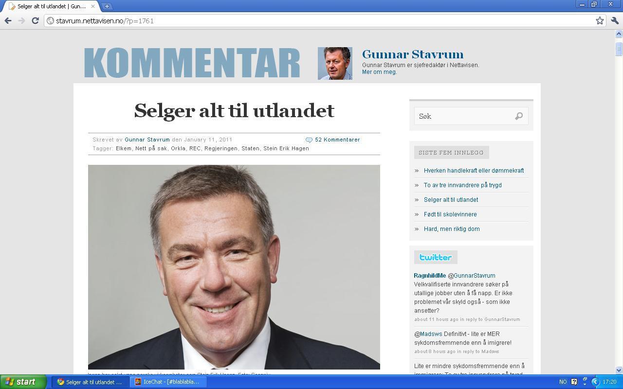 dff79294 Her kan man se at Nettavisen, og Gunnar Stavrum, hermer etter johncons-blogg