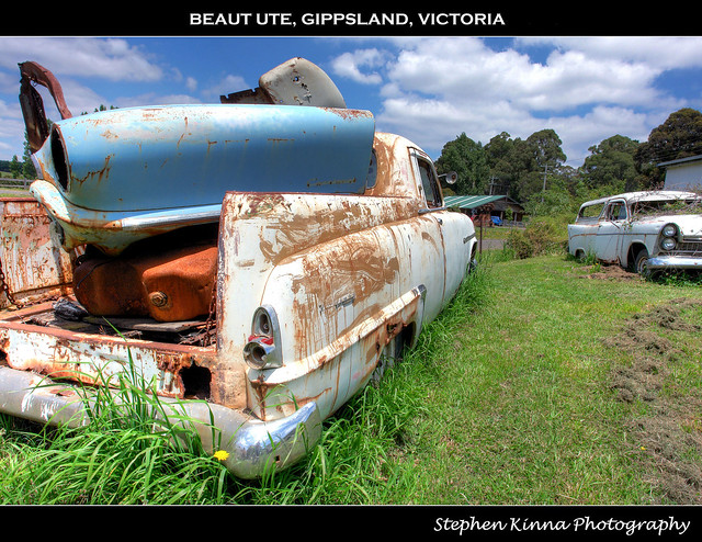 old abandoned car rust neglected rusty australia utility victoria ute valley rusted dodge weathered 1956 chrysler wreck coupe wrecked hdr kingsway wayfarer gippsland latrobe