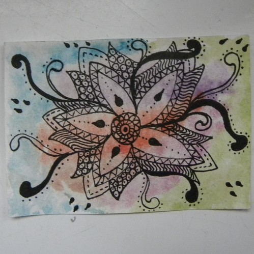 Doodled Mandala on Watercolour