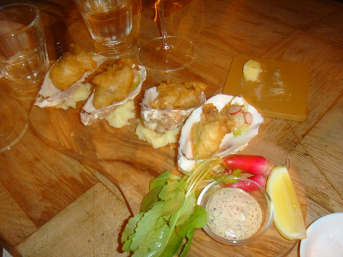 Paleta de ostras fritas
