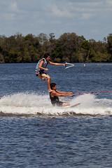 Double Decker Skiers (Craig Jewell Photography) Tags: river iso100 skiing australia nsw skier forster wallamba f50 11250sec canoneos5dmarkii sigma100300mmf4apoexifhsm cpjsm wallambariver