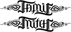 """Jamie"" & ""Mitch"" Ambigram v.2"
