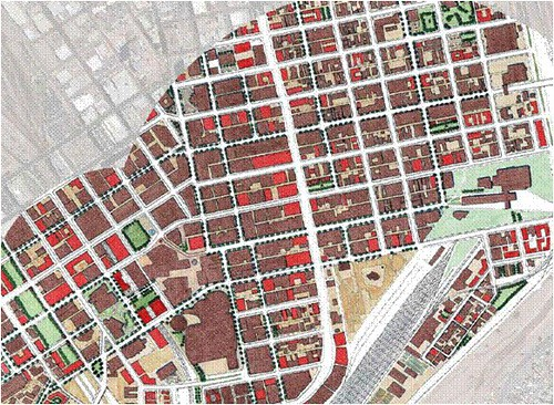 infill in red, existing buildings in brown (by Dover Kohl, from Connecting El Paso)
