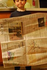 One sheet of newspaper.