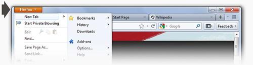 Novo Mozilla FireFox 4 - Menu