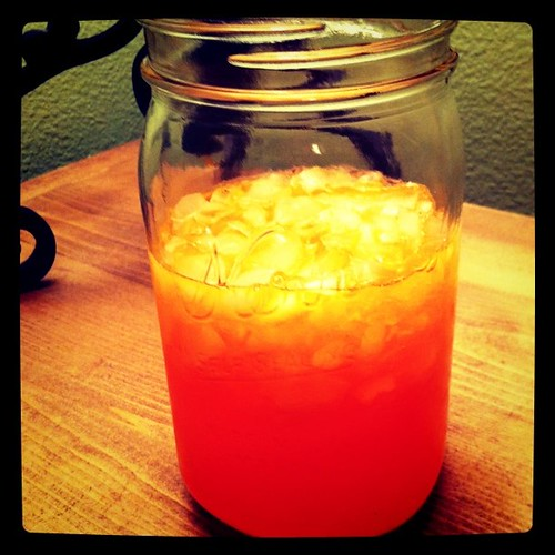 Project 365 21/365: Yum, Orange Crush, crushed ice, and a mason jar to drink it from