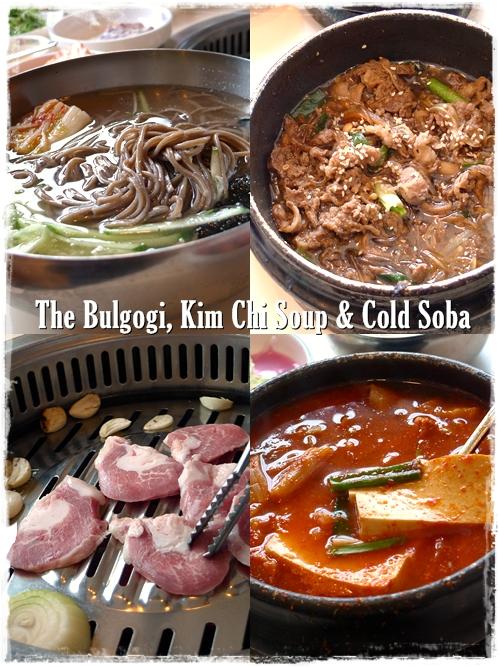 Beef Bulgogi, Pork Special, Kim Chi Soup, Cold Soba