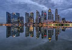 Shenton Way Mirror (Gordon Koh) Tags: singapore asia shentonway jubileebridge businessdistrict skyline skyscraper city cityscape waterfront riverfront modern reflection symmetry calmness stillness stillwater dawn