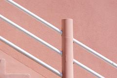 Pink staircase with white handrails (Jan van der Wolf) Tags: map15883v pink handrail leuning stairs trap staircase stairway rose white lines line interplayoflines lijnen lijnenspel composition compositie