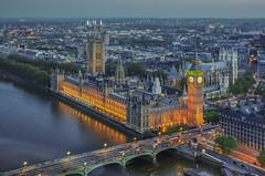 View from London Eye (aurlien.leroch) Tags: europe uk england london londres bigben londoneye housesofparliament nikon d3000 cityscape gold westminster batterseapowerstation