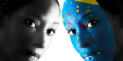 Dena (ivlak) Tags: bw color paint masks illusion hide cover camouflage reality highlight
