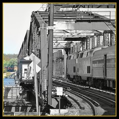 It is not good to cross the bridge before you get to it. (Loco Steve) Tags: railroad travel train yahoo october border iowa amtrak mississippiriver orkut jpeg 2010 californiazephyr burlingtor