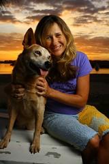 33 Weeks (Halcyon H) Tags: camera sunset red portrait orange dog yellow canon river gold pregnancy australia pregnant westcott apollo softbox strobist 40d redcattledog 580exii