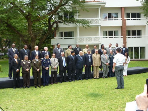 Defense ministers of the Americas line up for a photo