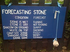Forecasting Stone (Sam Tait) Tags: autumn winter shadow summer sun white snow wet weather sign stone fence see spring funny top lol foggy dry windy sunny ground rope gone cant snowing swinging simple tornado prediction condition forecastig rainint