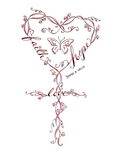 faith tattoo designs. Faith-Love-Hope Cross Tattoo