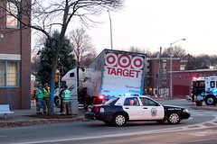 Oops (cclunie) Tags: light tractor canon streetlight downtown break crash accident newhampshire police semi cop target fireman mistake bang firefighter cruiser dover destroy trailor tuck bigrig knockedover