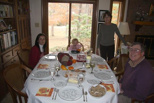 Sitting down for Thanksgiving Dinner