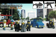 Bodyguards dallas street (Shobrick) Tags: street city red cars studio grey cowboy artist lego coat crowd unknow dot tiny ba tt custom suitcase protection mp5 kevlar tactical uas earpiece bodyguards mp7 brickarms holosight shobrick