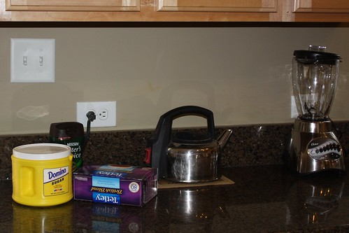 Before: sugar, tea & coffee always on the counter