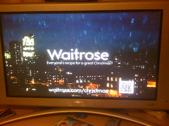 Managed to capture the screen with QR code in Waitrose ad - but no hope of successful decoding from this