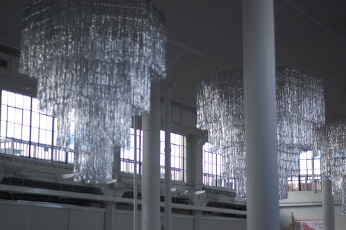 Fab ribbon chandeliers hung in the space.