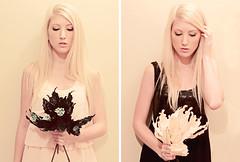 opposites (Shandi-lee) Tags: white selfportrait black girl blackwhite diptych cream peach blonde opposites lookingdown lightanddark fauxflowers softpink shandilee dwcffdiptych