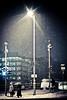 Dublin Snow (shaymurphy) Tags: street bridge ireland light people dublin snow storm lamp night umbrella lights blizzard beckett samuel nikond700 nikkor2470f28
