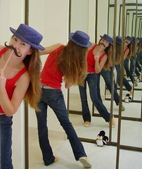 Infinite fun (Laurarama) Tags: selfportrait reflection hat mirror infinity joke explore mustache funnybusiness gettycollection ourdailychallenge laurarama collectionp