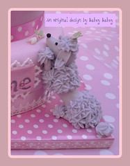 Silver sugar poodle detail on tiered birthday cake (Bakey Bakey) Tags: birthday christmas cake puppy holly celebration birthdaycake poodle dogshow toydog crufts