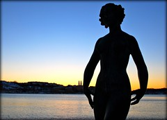 Statue Silhouette (Staffan_R) Tags: winter sunset sky sculpture lake art water silhouette statue vinter sweden stockholm cityhall scandinavia stadshuset 1923 dansen mlaren stockholmsstadshus bronzefigure carljohaneldh