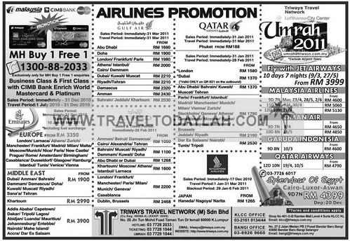 Airlines Promotion, Emirates, Gulf Air, Qatar Airways