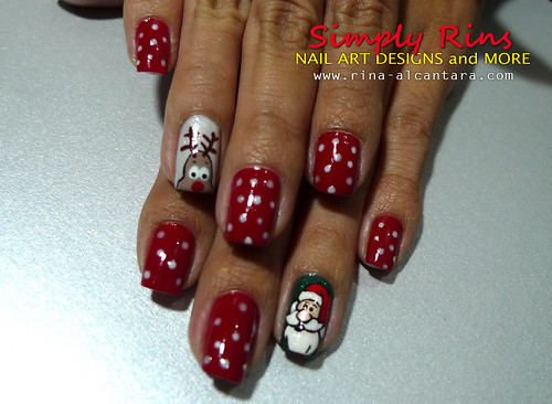 Christmas Nail Art Santa and Rudolph 04