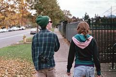 (planktons) Tags: road street camera autumn trees boy tree guy fall film girl hat leaves oregon fence leaf northwest acid cement lsd eugene sidewalk jeans pacificnorthwest peyote plaid beanie braid mescaline